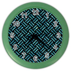 Woven2 Black Marble & Blue Green Water Color Wall Clock by trendistuff