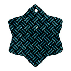 Woven2 Black Marble & Blue Green Water Snowflake Ornament (two Sides) by trendistuff