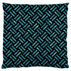 Woven2 Black Marble & Blue Green Water Large Cushion Case (one Side) by trendistuff