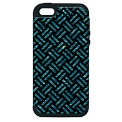 Woven2 Black Marble & Blue Green Water Apple Iphone 5 Hardshell Case (pc+silicone) by trendistuff