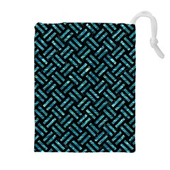 Woven2 Black Marble & Blue Green Water Drawstring Pouch (xl) by trendistuff