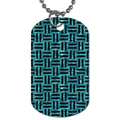 Woven1 Black Marble & Blue Green Water (r) Dog Tag (two Sides) by trendistuff