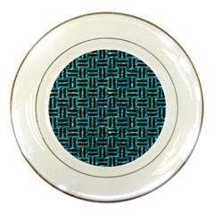Woven1 Black Marble & Blue Green Water (r) Porcelain Plate by trendistuff
