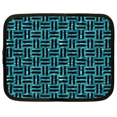 Woven1 Black Marble & Blue Green Water (r) Netbook Case (xl) by trendistuff