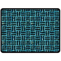 Woven1 Black Marble & Blue Green Water (r) Double Sided Fleece Blanket (large) by trendistuff