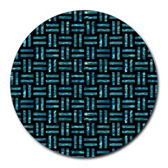 Woven1 Black Marble & Blue Green Water Round Mousepad by trendistuff