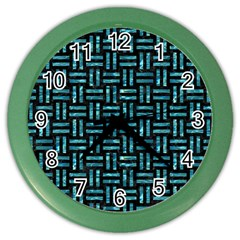 Woven1 Black Marble & Blue Green Water Color Wall Clock by trendistuff