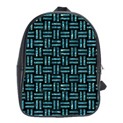Woven1 Black Marble & Blue Green Water School Bag (large) by trendistuff