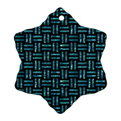 Woven1 Black Marble & Blue Green Water Ornament (snowflake) by trendistuff