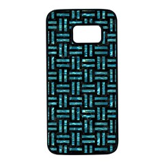 Woven1 Black Marble & Blue Green Water Samsung Galaxy S7 Black Seamless Case