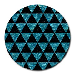 Triangle3 Black Marble & Blue Green Water Round Mousepad by trendistuff
