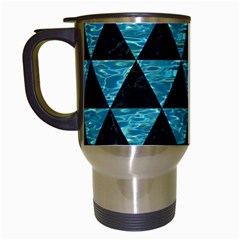 Triangle3 Black Marble & Blue Green Water Travel Mug (white) by trendistuff