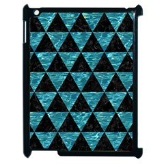 Triangle3 Black Marble & Blue Green Water Apple Ipad 2 Case (black) by trendistuff