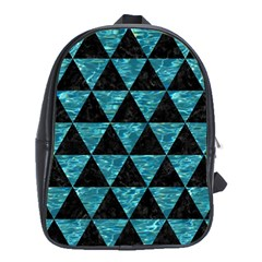 Triangle3 Black Marble & Blue Green Water School Bag (xl) by trendistuff