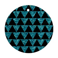Triangle2 Black Marble & Blue Green Water Round Ornament (two Sides) by trendistuff
