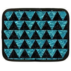 Triangle2 Black Marble & Blue Green Water Netbook Case (xl) by trendistuff