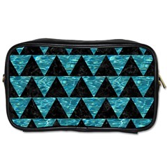Triangle2 Black Marble & Blue Green Water Toiletries Bag (one Side) by trendistuff