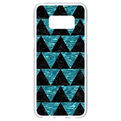 Triangle2 Black Marble & Blue Green Water Samsung Galaxy S8 White Seamless Case by trendistuff
