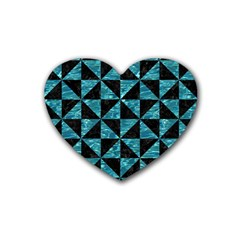 Triangle1 Black Marble & Blue Green Water Rubber Heart Coaster (4 Pack) by trendistuff