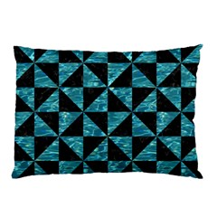 Triangle1 Black Marble & Blue Green Water Pillow Case (two Sides) by trendistuff