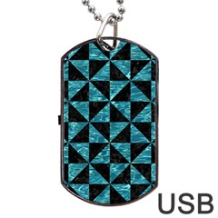 Triangle1 Black Marble & Blue Green Water Dog Tag Usb Flash (one Side) by trendistuff