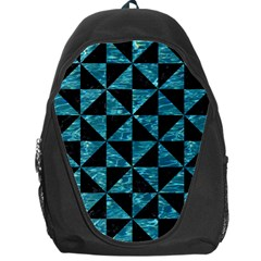 Triangle1 Black Marble & Blue Green Water Backpack Bag by trendistuff