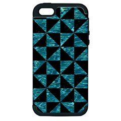 Triangle1 Black Marble & Blue Green Water Apple Iphone 5 Hardshell Case (pc+silicone) by trendistuff