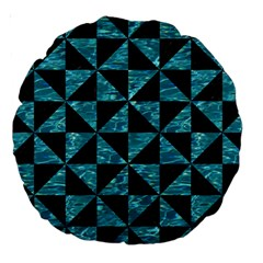 Triangle1 Black Marble & Blue Green Water Large 18  Premium Round Cushion  by trendistuff
