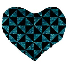 Triangle1 Black Marble & Blue Green Water Large 19  Premium Heart Shape Cushion by trendistuff