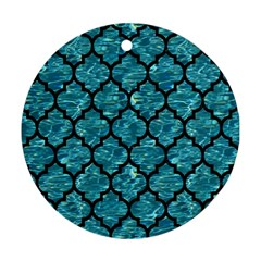 Tile1 Black Marble & Blue Green Water (r) Round Ornament (two Sides) by trendistuff