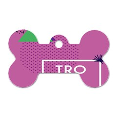 Behance Feelings Beauty Polka Dots Leaf Triangle Tropical Pink Dog Tag Bone (one Side)