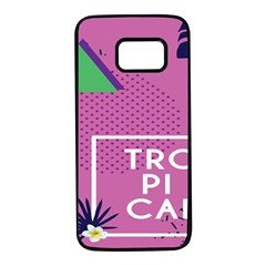 Behance Feelings Beauty Polka Dots Leaf Triangle Tropical Pink Samsung Galaxy S7 Black Seamless Case by Mariart