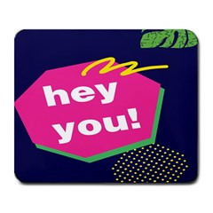 Behance Feelings Beauty Hey You Leaf Polka Dots Pink Blue Large Mousepads by Mariart