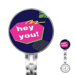 Behance Feelings Beauty Hey You Leaf Polka Dots Pink Blue Stainless Steel Nurses Watch by Mariart