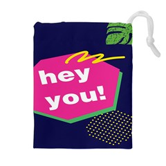 Behance Feelings Beauty Hey You Leaf Polka Dots Pink Blue Drawstring Pouches (extra Large)