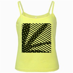Ambiguous Stripes Line Polka Dots Black Yellow Spaghetti Tank by Mariart