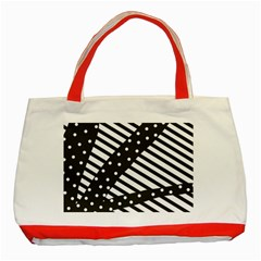 Ambiguous Stripes Line Polka Dots Black Classic Tote Bag (red) by Mariart