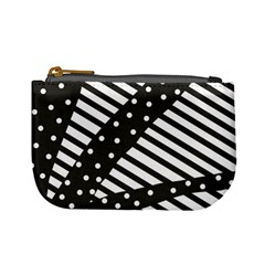 Ambiguous Stripes Line Polka Dots Black Mini Coin Purses
