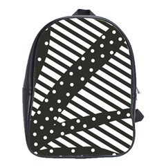 Ambiguous Stripes Line Polka Dots Black School Bags(large)