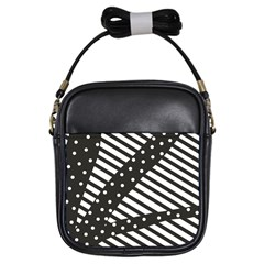 Ambiguous Stripes Line Polka Dots Black Girls Sling Bags by Mariart