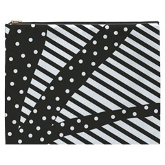 Ambiguous Stripes Line Polka Dots Black Cosmetic Bag (xxxl)  by Mariart