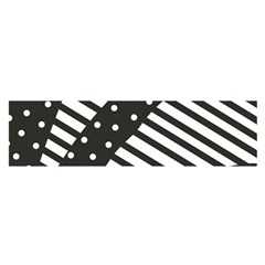 Ambiguous Stripes Line Polka Dots Black Satin Scarf (oblong)