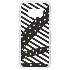 Ambiguous Stripes Line Polka Dots Black Samsung Galaxy S8 White Seamless Case by Mariart