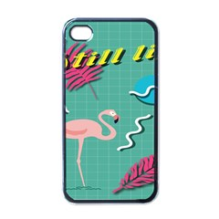 Behance Feelings Beauty Flamingo Bird Still Life Leaf Green Pink Red Apple Iphone 4 Case (black) by Mariart