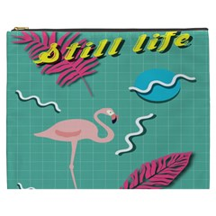 Behance Feelings Beauty Flamingo Bird Still Life Leaf Green Pink Red Cosmetic Bag (xxxl)  by Mariart