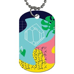 Behance Feelings Beauty Waves Blue Yellow Pink Green Leaf Dog Tag (one Side) by Mariart