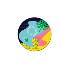 Behance Feelings Beauty Waves Blue Yellow Pink Green Leaf Golf Ball Marker by Mariart