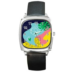 Behance Feelings Beauty Waves Blue Yellow Pink Green Leaf Square Metal Watch by Mariart