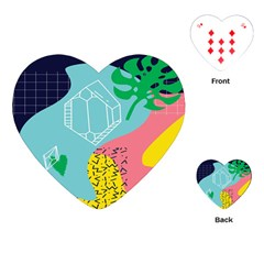 Behance Feelings Beauty Waves Blue Yellow Pink Green Leaf Playing Cards (heart)  by Mariart