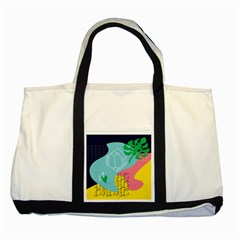 Behance Feelings Beauty Waves Blue Yellow Pink Green Leaf Two Tone Tote Bag by Mariart